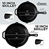Pre-Seasoned Cast Iron Skillet 2-Piece Set (10-Inch and 12-Inch) Oven Safe Cookware - 2 Heat-Resistant Holders - Indoor and Outdoor Use - Grill, Stovetop, Induction Safe