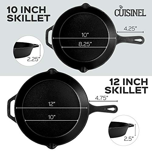 """Cuisinel Cast Iron Skillet Set - 4-Piece Chef Pan - 6"""" + 8"""" + 10"""" + 12""""-Inch + 4 Heat-Resistant Handle Holders - Pre-seasoned Oven Safe Cookware - Indoor/Outdoor Use - Grill, Stovetop, Induction Safe Salted Salad"""