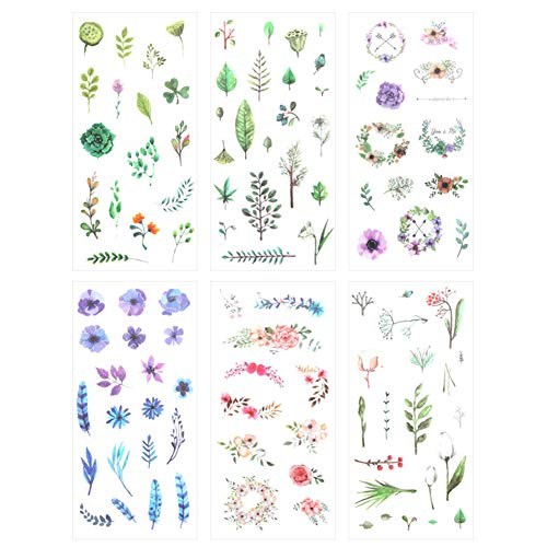 3 Set(18 Sheet) Fresh Floral Summer Green Plants Leaf Flower Tree Branches Stationery Sticker Scrapbooking Planner Journal Diary DIY Decorative Label Craft Stickers for Kids Boys Girls (Summer's Gift) (Florals Scrapbooking)