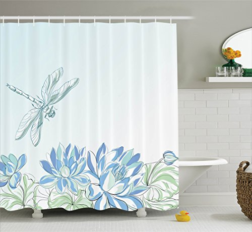 Ambesonne Country Decor Shower Curtain Set, Waterlilies Flowers and Dragonflies Simplistic Home Decoration Eco Nature Theme Artwork, Bathroom Accessories, 70 Inches Long, Blue Green