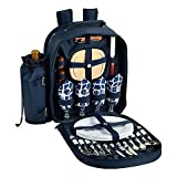 Picnic at Ascot Trellis Collection 4-Person Picnic Backpack in Blue