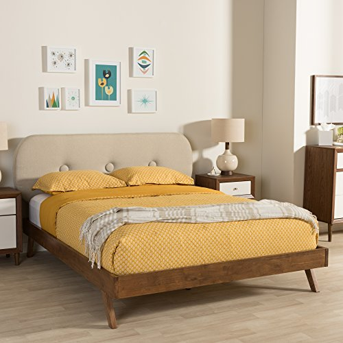 Baxton Studio Penelope Tufted King Platform Bed in Light Beige