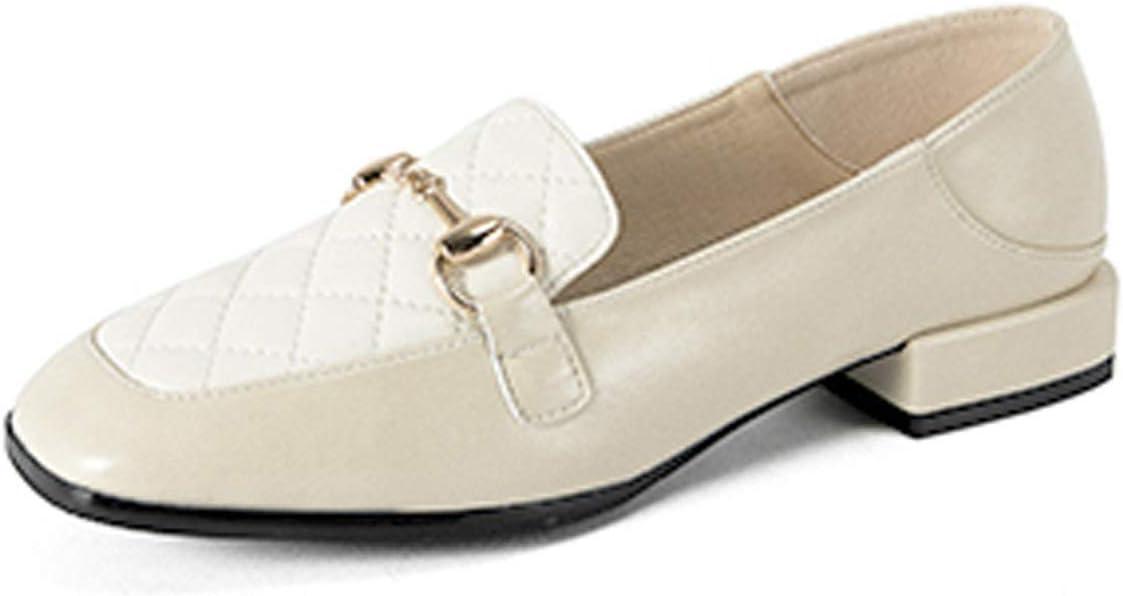 MGS Zapatos De Cuero Planos De Las Mujeres, Cuadrado Calle Británica Cabeza De Caballo De La Hebilla del Todo-fósforo De Los Holgazanes (Color : White, Size : 34)