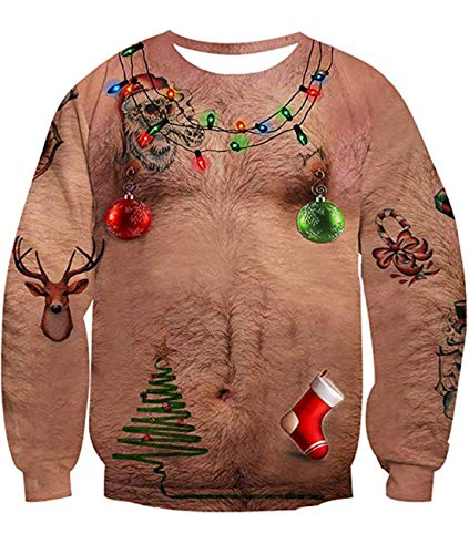 Sweater Mens 1970s (Alistyle Boys Ugly Xmas Sweater Chest Hair Print Long Sleeve Pullover Christmas Sweatshirt for Men Women)
