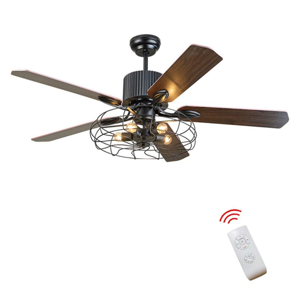 Ventilateur de plafond LED avec /éclairage Salon Chambre T/él/écommande Haute Qualit/é Loft Ventilateur Lustre R/étro Salle /À Manger M/énage Ventilateur /Électrique Muet LED T/él/écommande Feuill