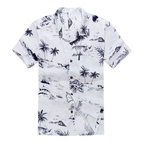 Palm Wave Men's Hawaiian Shirt Aloha Shirt S White Map -
