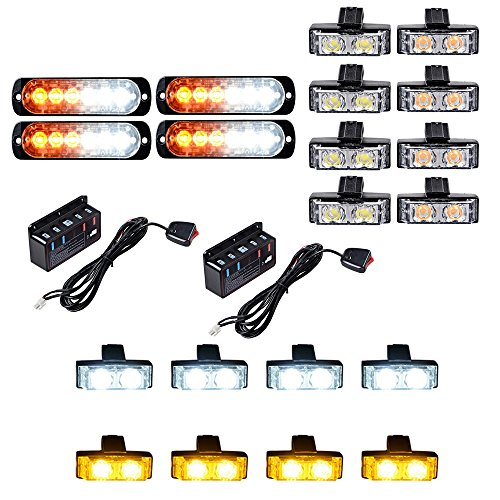4pcs Amber/White Ultra Slim 6-LED Strobe Light Bar + 16pcs (8 White + 8 Amber) 2-LED Flashing Grille Light Kit Emergency Warning Hazard Construction Car Truck SUV Van