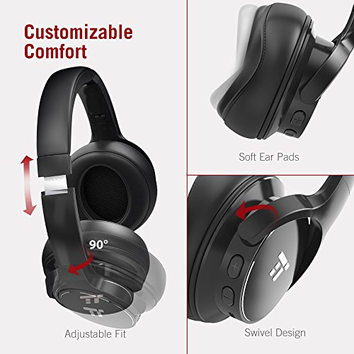 519lcK09IsL - TaoTronics Active Noise Cancelling Bluetooth Headphones HiFi Stereo Wireless Over Ear Deep Bass Headset w/cVc Noise Canceling Microphone 30 Hour Playtime Comfortable Earpads for Travel Work TV