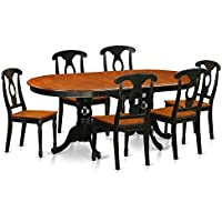 East West Furniture PLKE7-BCH-W 7 Piece Dining Table with 6 Wooden Chairs Set
