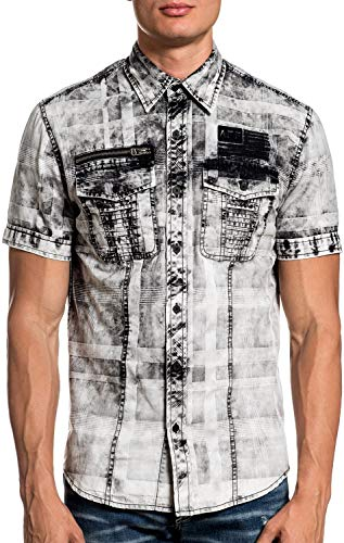 Affliction Suffice Short Sleeve Fashion Woven Button Down Shirt For Men
