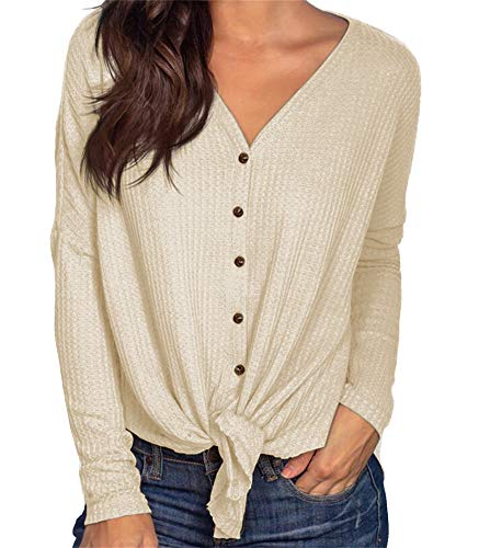 (PCEAIIH Womens Long Sleeve Waffle Knit Tunic Blouse Tie Knot Henley Tops Loose Fitting Bat Wing Plain V Neck Shirts M-Khaki)
