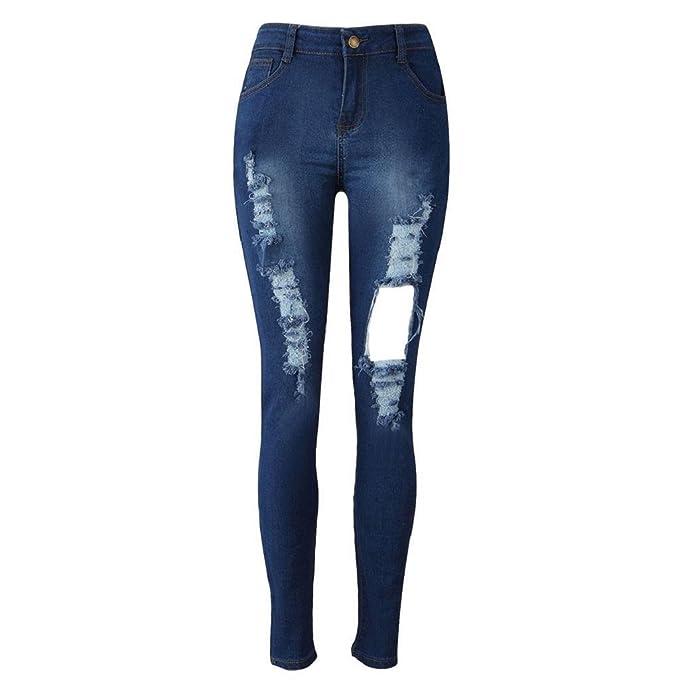 Sannysis Pantalones Vaqueros Dril de algodón Pantalones Rotos Azul