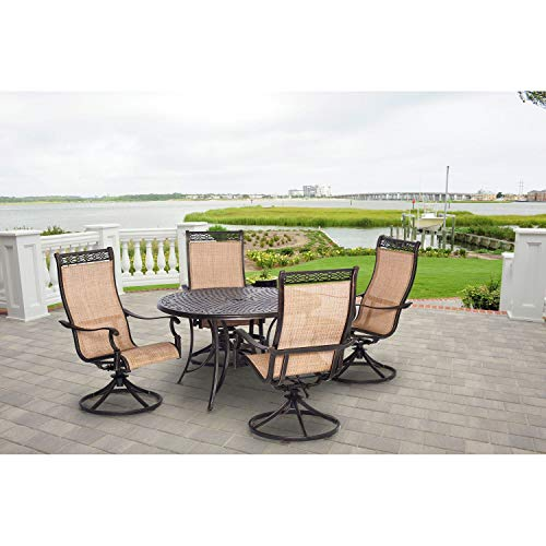 (Hanover Manor 5 Piece Outdoor Dining Set with Four Swivel Rockers )
