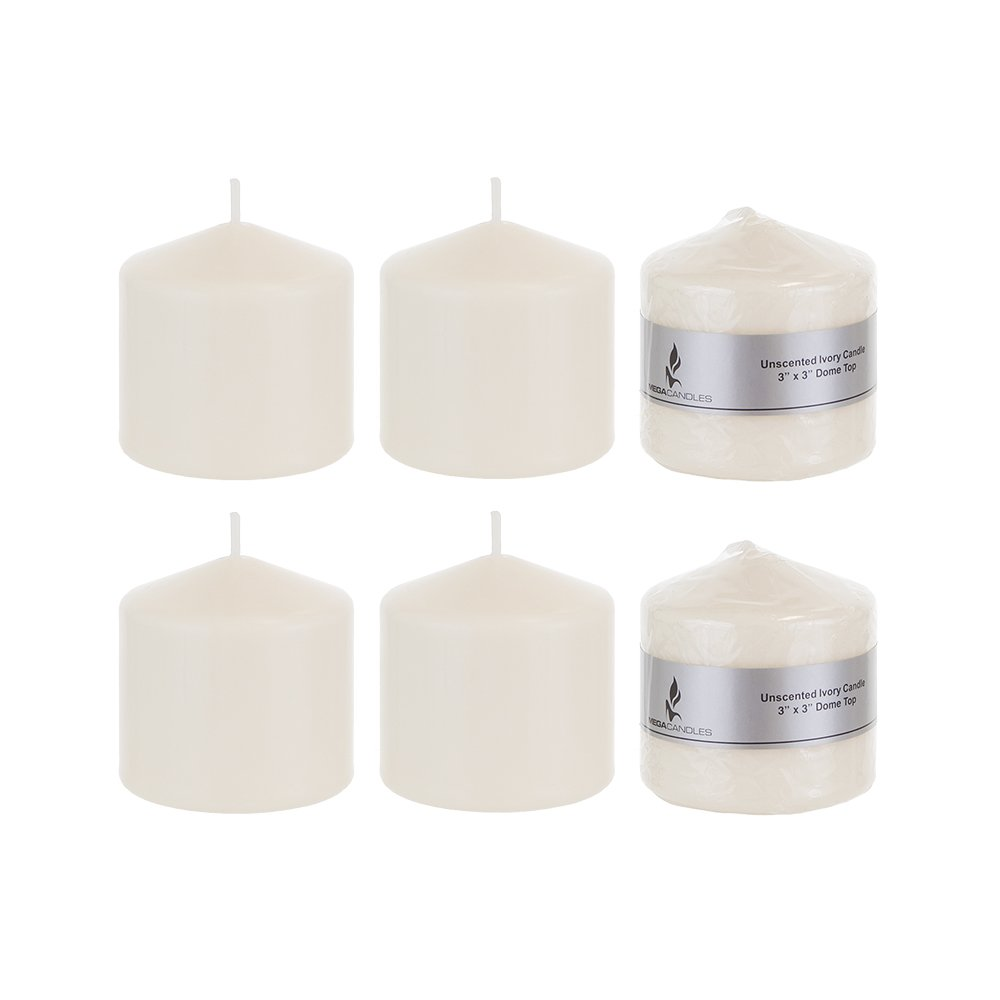 Mega Candles - Unscented 3'' x 3'' Round Pillar Candle - Ivory, Set of 6