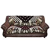 Kuber Industries™ Sofa Cover Heavy Velvet Cloth 5 Seater Set -10 Pieces- Brown & Cream (Exclusive Print)