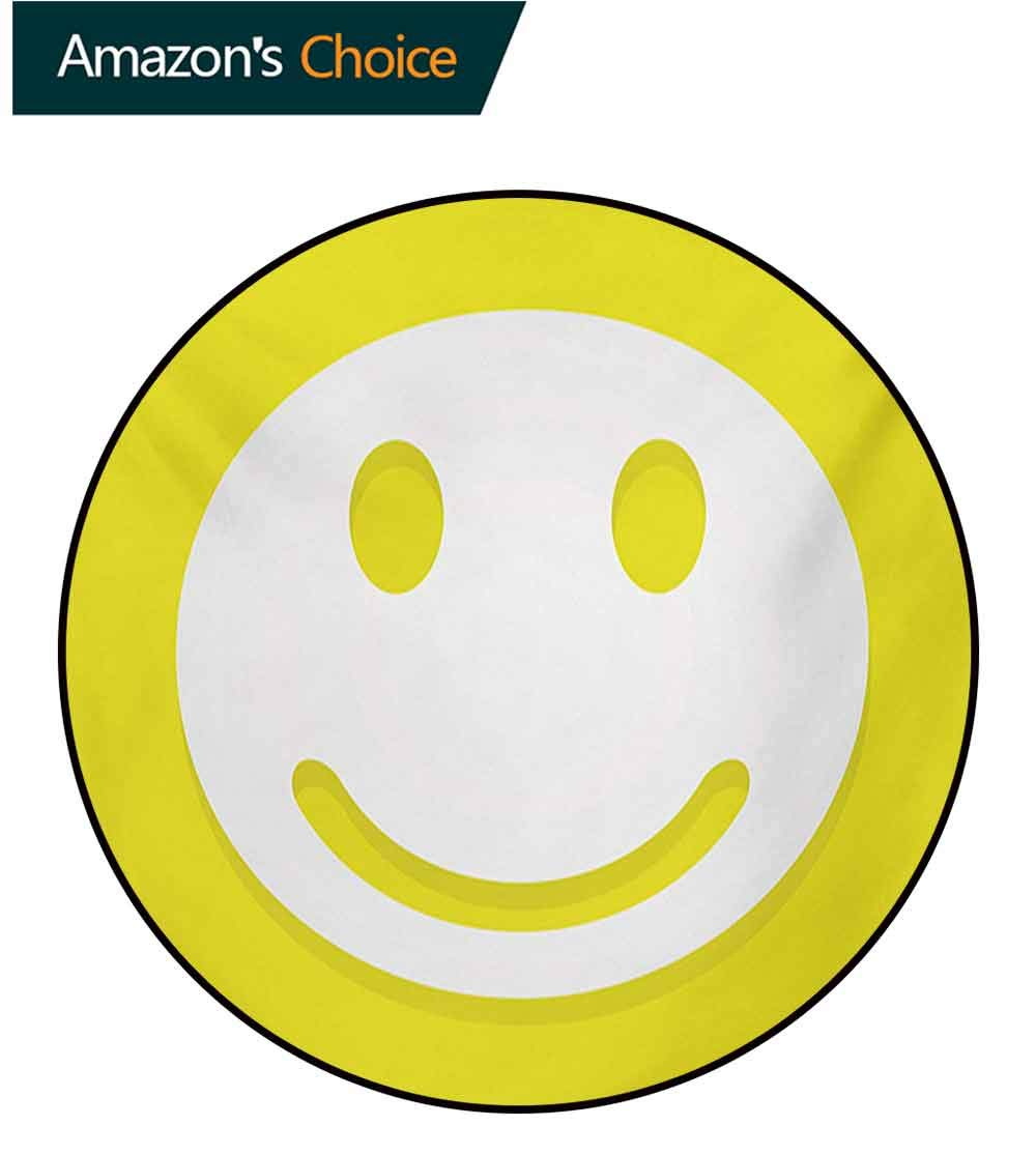 RUGSMAT Yellow Round Area Rug Carpet,Rise Wake Uo Positive Optimistic Life Message Big Smiley Happy Face Artwork Living Dinning Room and Bedroom Rugs,Round-63 Inch Yellow and White