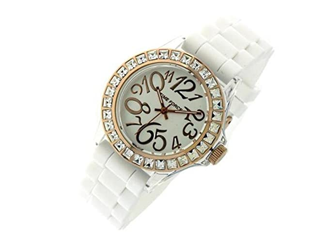 Time Force - Reloj de pulsera mujer, silicona, color blanco