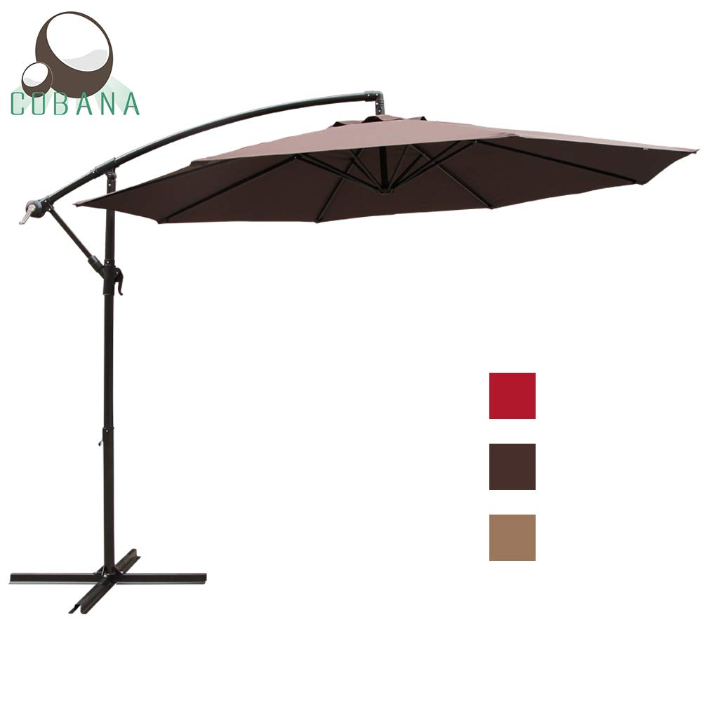 COBANA 10 Ft Patio Cantilever Offset Market Hanging Outdoor Umbrella with Crank Lift Cross Base, Coffee