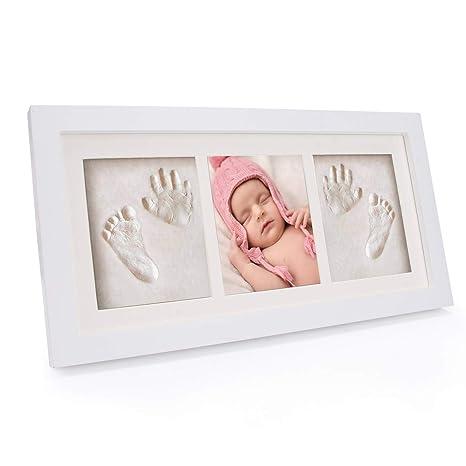WesKimed bebé Handprint y Marco de huella Inkpad de fotos Regalos Babyparty seguros y elegantes Elegante blanco de madera sólida para recién ...