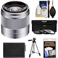 Sony Alpha NEX E-Mount 50mm f/1.8 OSS Lens (Silver) with NP-FW50 Battery + Tripod + 3 Filters Kit for A7, A7R, A7S Mark II, A5100, A6000, A6300 Camera