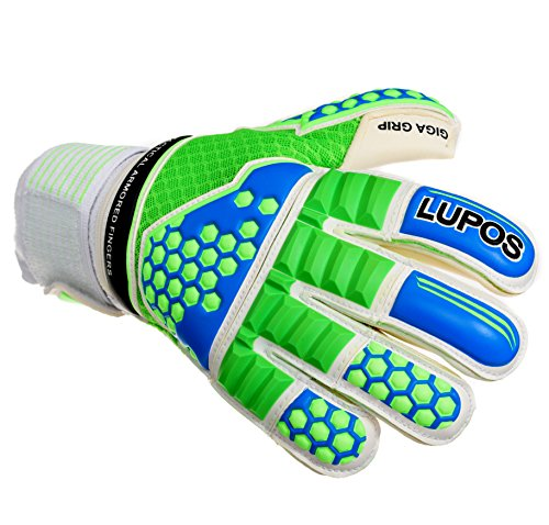 - LUPOS Goalie Gloves Youth, Kids, Adult Armored. Goalkeeper Gloves 3D Tech Punch Zone, Removable Pro Fingersave, 4 mm German Latex Giga Grip Palm, 3D Ultra Breathable Mesh Backhand, Roll Cut. (7)
