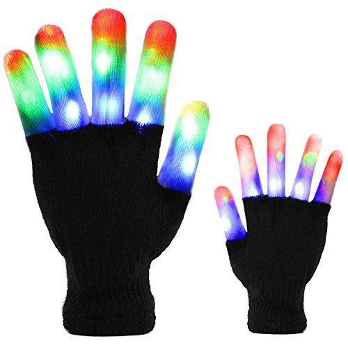 Price comparison product image Led Gloves, DUZCLI Flashing Finger Light Up Gloves - Kids and Adult Size with Extra Batteries - for Rave, Halloween, Party Light show, Concerts, Disco, Party Favors (Half-Adult)
