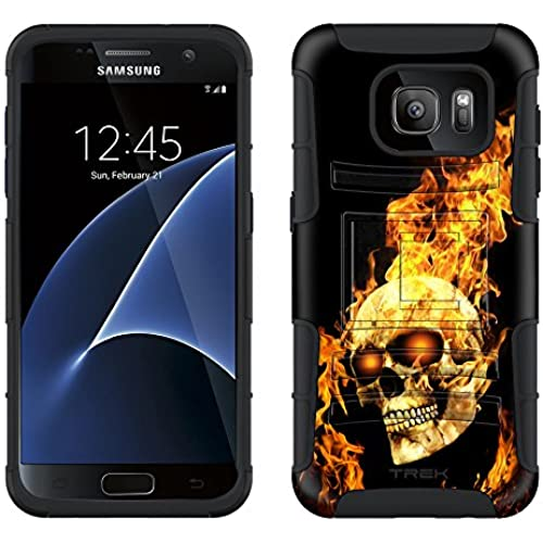 Samsung Galaxy S7 Armor Hybrid Case Flaming Skull 2 Piece Case with Holster for Samsung Galaxy S7 Sales