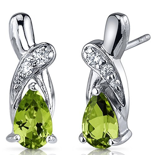 Peridot Earrings Sterling Silver Tear Drop CZ Accent 1.50 Carats by Peora