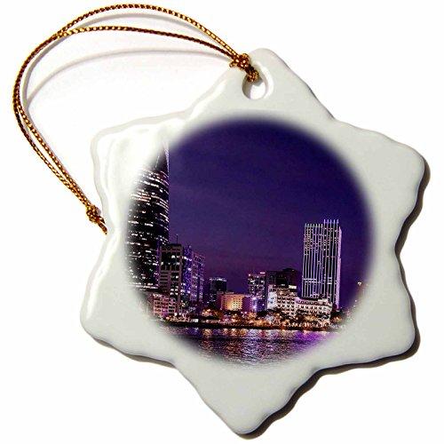 Chi Christmas Ornament (3dRose Cities Of The World - Ho Chi Minh City, Saigon - 3 inch Snowflake Porcelain Ornament (orn_268652_1))