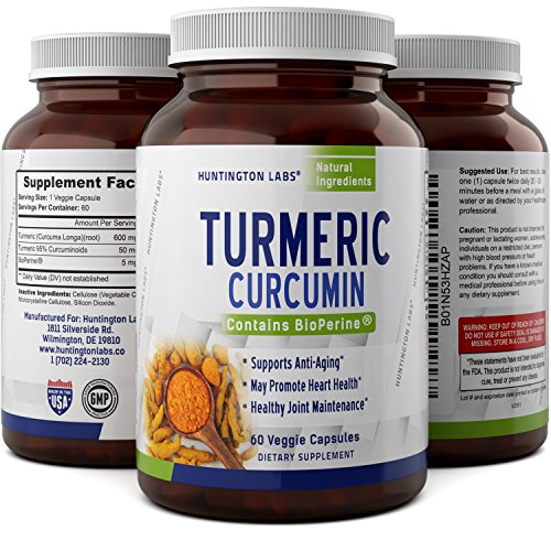 Best Turmeric Curcumin Capsules-Pure Ground Root Extract Supplements with Bioperene- All Natural Antioxidant for Women + Men – Top Benefits for Joint Health + Immune Response – Huntington Labs