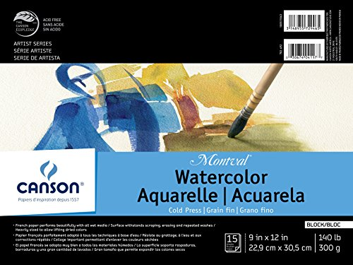 Canson Montval Watercolor Block, Cold Press Acid Free French Paper, 140 Pound, 9 x 12 Inch, 15 Sheets