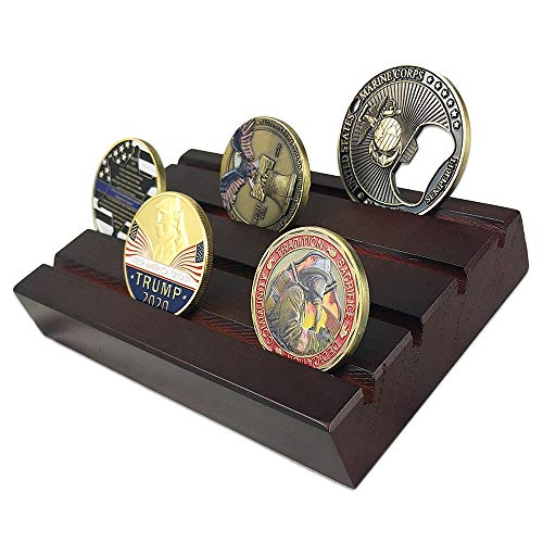 Display Row Coin (atsknsk Military Challenge Coin Display Holder Stand Wooden(4 Rows, Small))