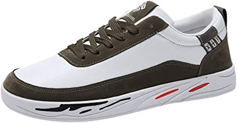 xinxinyu Zapatos Calle Cuero para Hombres | Zapatilla Deporte Cordones con Suela Plana y Puntadas | Moda Otoño Verano Caminar Calzado para Correr: Amazon.es: Deportes y aire libre