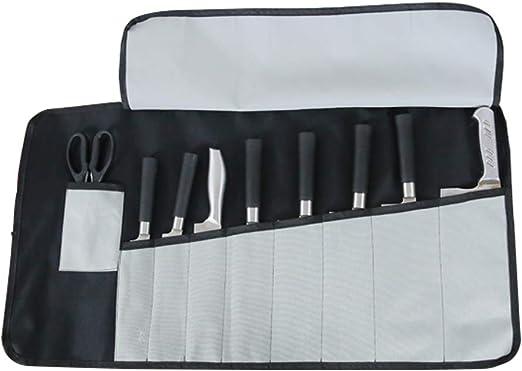 Bolsa de Rollo de Cuchillos para Cocinero – elaborada con Tela Oxford Ideal para Viajes, Bolsa de Almacenamiento con 9 Ranuras, Chef Pro o Estudiantes culinarios para Hombres y Mujeres HGJ17-G: Amazon.es: