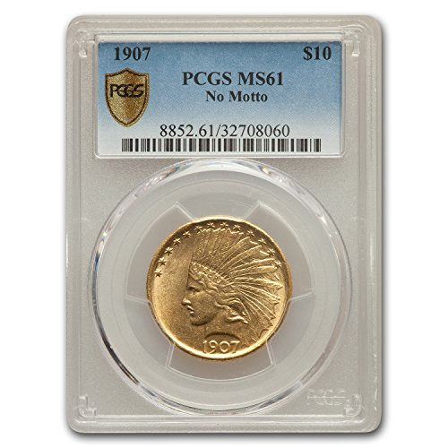 1907 $10 Indian Gold Eagle No Motto MS-61 PCGS G$10 MS-61 PCGS