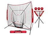 PowerNet DLX Combo 6 Piece Set for Baseball Softball | 7x7 Practice Net Bundle w/Strike Zone, Ball Caddy + 3 Weighted Training Balls | Team or Solo Training | Hitting & Throwing (Red)