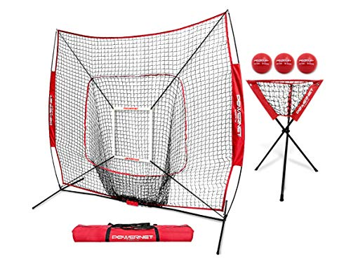 PowerNet DLX Combo 6 Piece Set for Baseball Softball (Red) | 7x7 Practice Net Bundle w/Strike Zone, Ball Caddy + 3 Weighted Training Balls | Team or Solo Training | Hitting & Throwing
