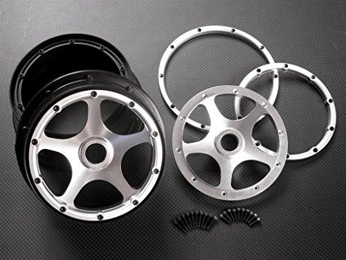 Baja 5b Rtr - HPI Baja 5B RTR, 5B SS, 5T Upgrade Parts Nylon Front Rims Frame With Aluminum 5 Star Beadlock - 1Pr Set Silver