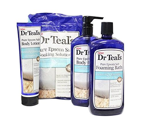 Dr Teals Pure Epsom Salt Complete Set: Soaking Solution, Foaming Bath, Body Wash, & Body Lotion (Detoxify & Energize with Ginger & Clay)