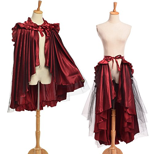 Bessume Punk Flounce Bustle Skirt Cape, Red, One size (Plus Size Victorian Costumes)
