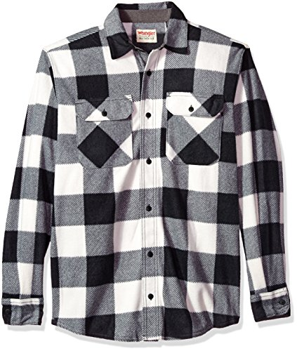 Wrangler Authentics Men's Long Sleeve Plaid Fleece Shirt, Red Buffalo, Large