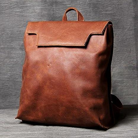 DADAO-Original vintage hechos a mano de cuero grande mochila mochila mochila ,Brown: Amazon.es: Deportes y aire libre