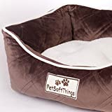 Pet Soft Things Super Soft Microplush Quilted Pet Bed with Removable Pillow, 19″ x 24″ x 8″, Chocolate