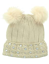 JFH Women's Winter Cable Knitted Faux Fur Double Pom Pom Beanie Hat w/Sequins