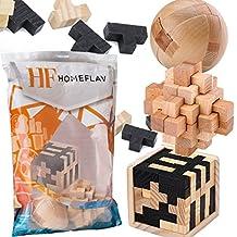 Fidget Toy Puzzles [3 Pack] Wooden Ball (1) Square Block (1) Geometric (1) Brain Teaser Disentanglement Set