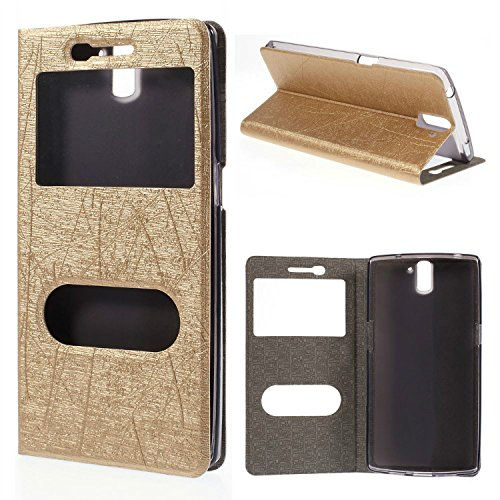 Dulcii Lines Texture Leather Case Stand for Oneplus One A0001 w/ Dual View Windows ,Gold
