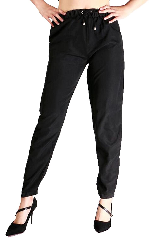 SYTX Womens Casual Elastic Waist Solid Color Loose Chiffon Jogger Pants Haren Pants