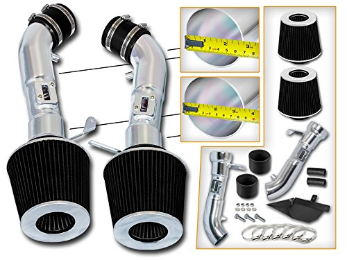 Cold Air Intake System with Heat Shield Kit + Filter Combo BLACK Compatible For 08-13 Infiniti G37 3.7L V6 / 09-14 Nissan 370Z