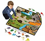 Neat-Oh! Dinosaur Prehistoric 2-Sided Playmat with 2 dinosaurs and Bonus Bag of 12 Dinosaurs