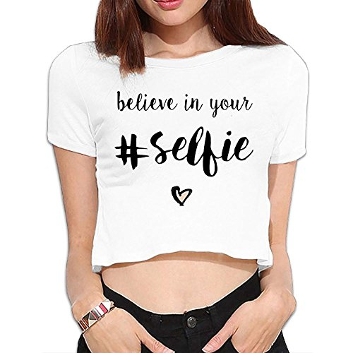 Ghhpws Believe in Your #Selfie Summer Women Sexy Revealed Navel Short Sleeve Bare Midriff Crop Top T Shirt White L ()